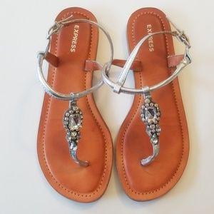 Embellished Soft T-Strap Sandals 6.5